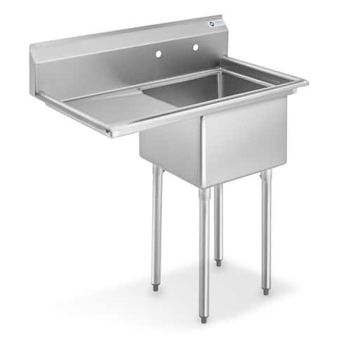 18 Inch Left Drainboard NSF Stainless Steel Sink by GRIDMANN - Left Drainboard