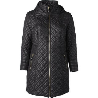 Via Spiga Womens Plus Basic Jacket Quilted Hooded