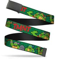 Blank Black  Buckle Classic Tmnt Group Pose2 Tmnt Green Brick Wall Web Belt