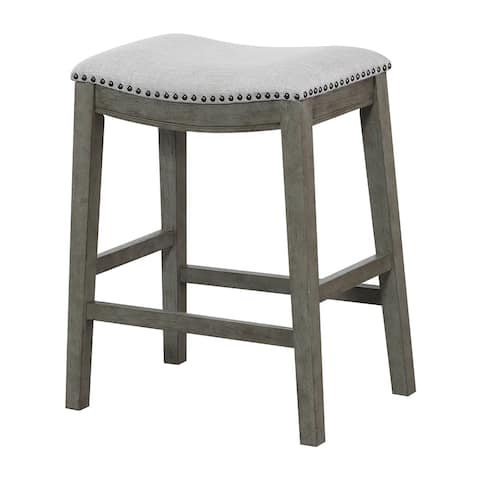 """OS Home and Office Model MET4224AG-GRY Saddle Stool 24"""" in Grey Fabric and Antique Grey Base and Bronze Nailheads 2-pack"""