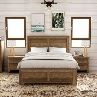 Link to Furniture of America Loa Walnut 3-piece Bedroom Set with 2 Nightstands Similar Items in Bedroom Furniture