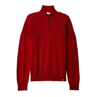 Calvin Klein NEW Deep Red Mens Size Large L 1/2 Zip Mock-Neck Sweater