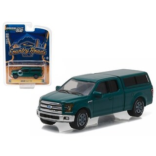 2015 Ford F-150 with Camper Shell Green Gem Country Roads Series 15 1/64 Diecast Model Car by Greenlight