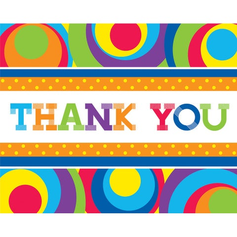 Thank Yous Card And Envelopes 8 Pack Mod Circles - multi