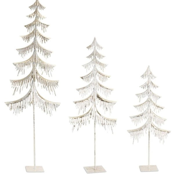 Pack of 2 Decorative Icy Frost White Set of 3 Metal Trees