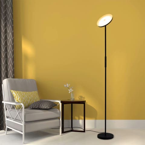 Industrial Matte Black Torchiere Floor Lamp, Dimmable Warm White