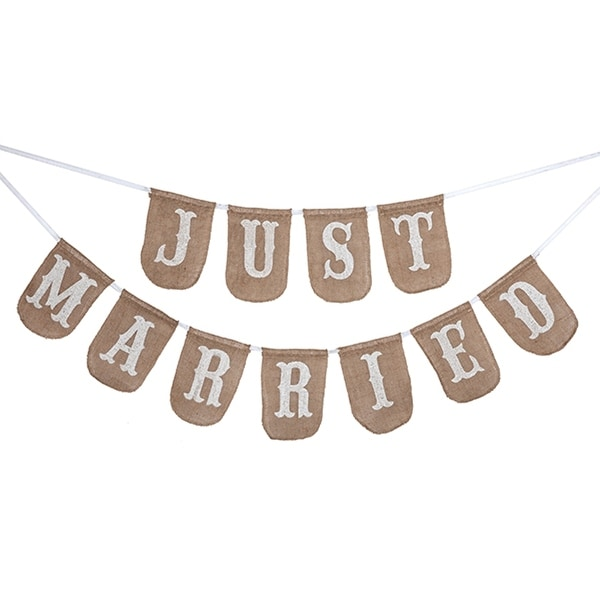 Just Married Burlap Printed Bunting 92.5 Inch Wide Occasionally Made