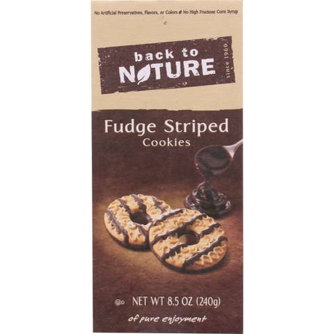 Back To Nature Cookies - Fudge Striped Shortbread - 8.5 oz - case of 6