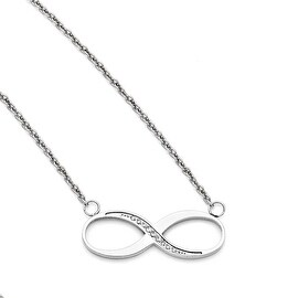 Chisel Stainless Steel Infinity Polished CZ Necklace (2 mm) - 20 in