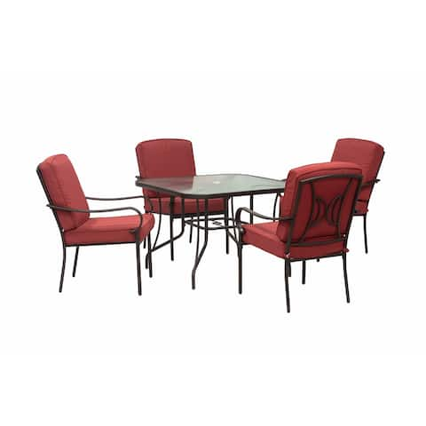 Augusta 5 Piece Outdoor Patio Dining Set with Square Table