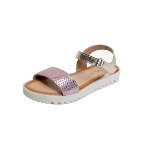 Pazitos Girls Gold Snake Pattern Thick Sole Pretty Kool Sandals