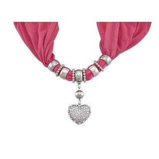 Bright Coral Rhinestone Heart Pendant Scarf Jewelry - Pink