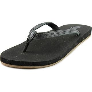 Flojos Darci Youth Open Toe Leather Black Flip Flop Sandal