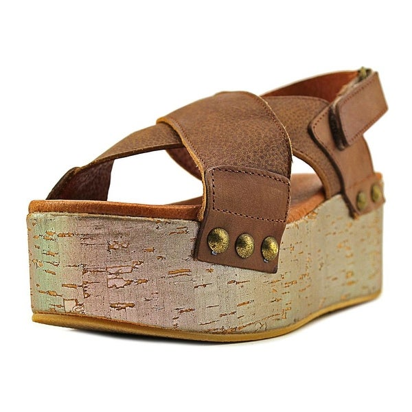 Sixtyseven 77091 Women Open Toe Leather Brown Platform Sandal