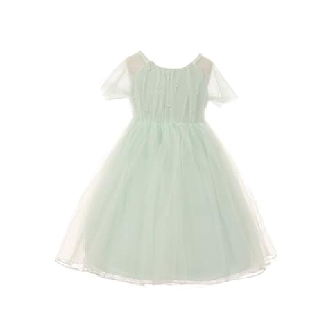 Kids Dream Girls Mint Mesh Pearl Accented Knee-Length Easter Dress