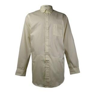 Van Heusen Men's Easy Care Pinpoint Oxford Dress Shirt (Maize, 17.5/37-38)