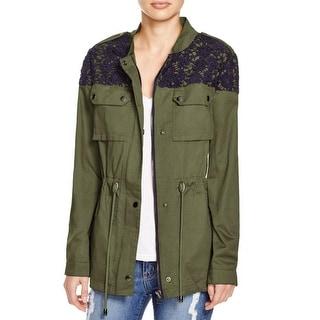 Aqua Womens Military Jacket Applique Woven
