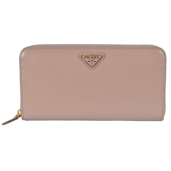 7e092a9401762b Prada Women's 1ML506 2BV8 Cammeo Saffiano Leather Zip Around Wallet  Clutch -