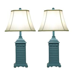 Nautical table lamps for less overstock blue seashell shutter table lamp with fabric shade set of 2 aloadofball Choice Image