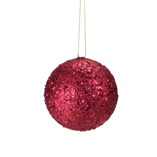 """Fancy Deep Red Holographic Glitter Drenched Christmas Ball Ornament 4.75"""""""