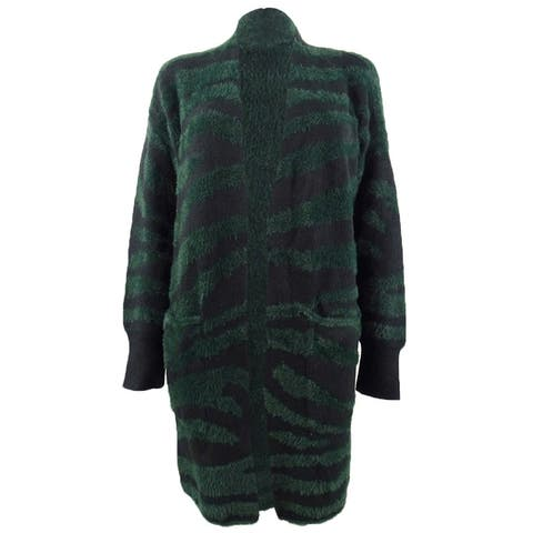 Vince Camuto Women's Tiger-Striped Open-Front Cardigan (M, Dark Willow) - M