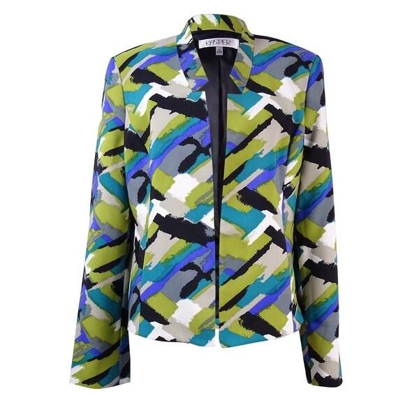 c92d677fe864 Shop Kasper Women's Plus Size Printed Twill Pocket Blazer - lime zest multi  - 20W - Free Shipping Today - Overstock - 17118729