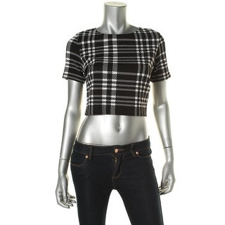 Aqua Womens Juniors Textured Plaid Crop Top