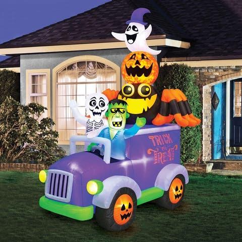 10.5' Inflatable Swirling Lights Halloween Truck