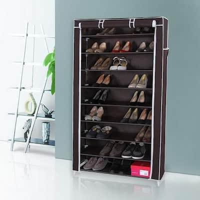 10 Tiers Storage Closet Organizer Shoe Rack w/Cover 4 Colors