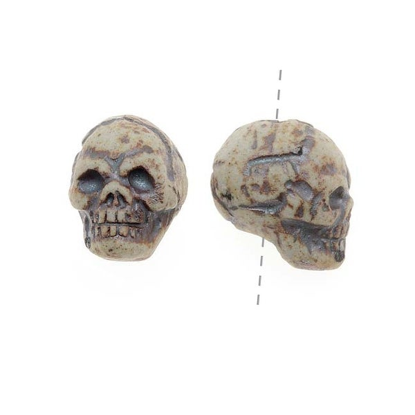 Glazed Ceramic Bead - Halloween Skeleton Skull 7.5x11mm (2)