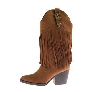 Madden Girl Womens Ranglee Microsuede Fringe Cowboy, Western Boots - 7.5 medium (b,m)