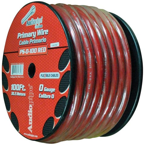 Nippon ps0100rd audiopipe flexible power cable 0 ga. 100 ft. red