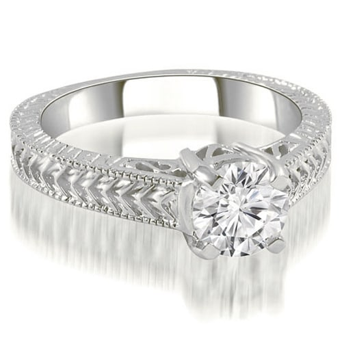 1.00 cttw. 14K White Gold Antique Style Solitaire Diamond Engagement Ring