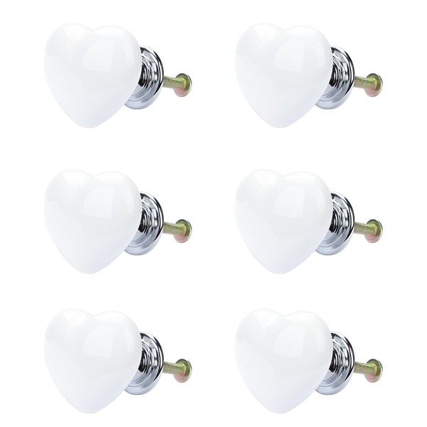 6pcs Ceramic Knobs Drawer Heart Shaped Pull Handle Furniture Door Cabinet Cupboard Wardrobe Dresser Replacement White