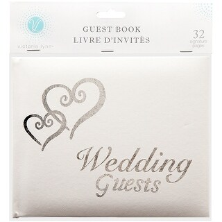 "Victoria Lynn Guest Book 6""X9""-White W/Silver Hearts"
