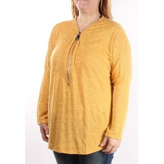 Womens Gold Long Sleeve V Neck Top Size 2X
