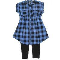 Faded Glory Girls Blue Black Plaid Button 2 Pc Pants Set 7-16
