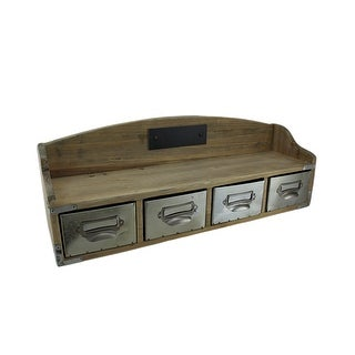 Wooden Retro Wall Shelf Organizer w/4 Drawers