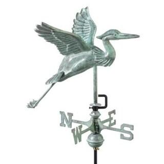 "18"" Handcrafted Blue Verde Robust Heron Outdoor Weathervane with Garden Pole"