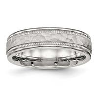 Stainless Steel Polished Hammered and Grooved 6 mm Band Ring - Sizes 6 - 13