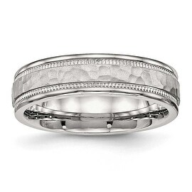 Stainless Steel Polished Hammered and Grooved 6 mm Band Ring - Sizes 6 - 13 (More options available)