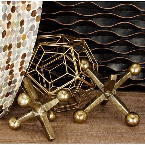 "Aluminum Modern Sculpture Geometric (Set of 2) - 4"", 5""H"