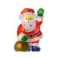"""13"""" Lighted Holographic Santa Claus Christmas Window Silhouette Decoration - RED"""