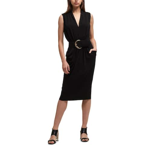 DKNY Womens Wear to Work Dress Draped Fitted