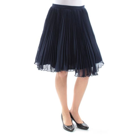 XSCAPE Womens Navy Above The Knee Accordion Pleat Skirt Size: 6