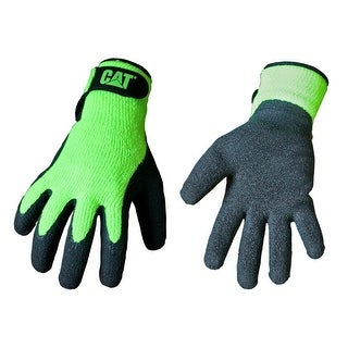 Cat CAT017417L Men's Latex Coated Palm Gloves, Large, Black & Green