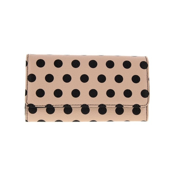 Kenneth Cole Reaction Womens Clutch Wallet Faux Leather Polka Dot