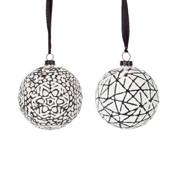 """Set of 4 Black and White Snowflake Design Glass Ball Ornament 3.75"""". Opens flyout."""