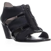 Bandolino Dopie Wedge Strappy Sandals, Black/Black - 6 us