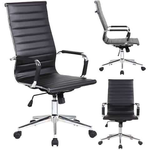 High Back Office Chair Ribbed PU Leather For Conference Room Task Executive Desk Work Manager Black Adjustable Swivel